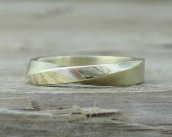 Mobius Wedding Ring, 4mm Mobius Wedding Band, Modern Mobius Strip Ring, Gold Infinity Ring, Gold Mobius Wedding Band, Gold Wedding Band
