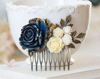 Gold Navy Blue Ivory Rose Flower Hair Comb Navy Blue Wedding Bridal Hair Comb Romantic Rustic Vintage Wedding Hair Accessory Hair Slide