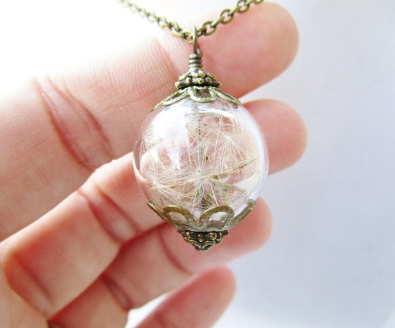 Real Dandelion Seed Wishing Orb Necklace in Bronze, Small Blown Glass Orb, Bridesmaids Gifts