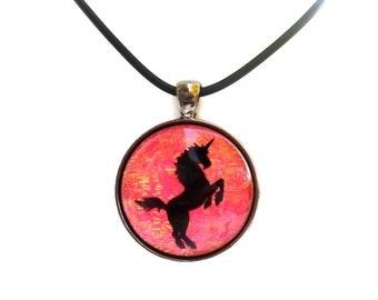 Pink Unicorn Holographic Iridescent Glass Pendant Faux Dichroic
