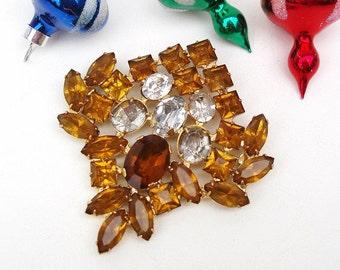 Vintage Weiss Brooch, Mystic Topaz Rhinestone Pin, Large Brooch, Statement Jewelry