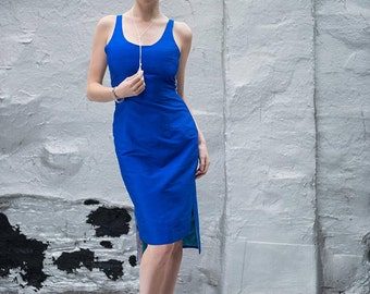 Sapphire Blue Shantung Sheath Dress with Silver Mesh Racer Back