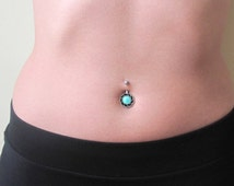 Turquoise Belly Button Ring , belly button jewelry , belly piercing , navel piercing , belly bar , surgical steel , beach jewelry