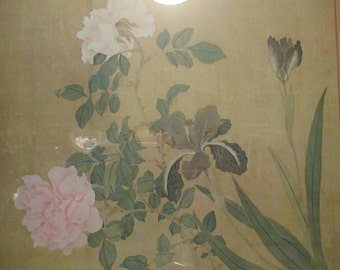 Large Framed Vintage Art Print Asian Design Style Decor Pastels Peonies Irises Double Matted Wall Hanging YourFineHouse ShipsWorldwide