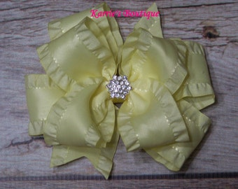 Yellow Double Ruffle Ribbon Bow / Over the Top Hair Bow / Flower Girl / Photo Prop / Pageant / Infant/ Baby/ Girl/ Infant/ Toddler/ Boutique