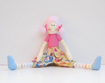 Rag doll softie plush doll stuffed doll cute cloth doll child friendly fabric doll pink yellow baby shower birthday gift for girl