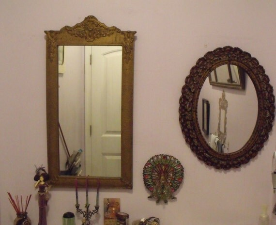 Antique 30 Quot Intricate Gold Framed Mirror Wood Gesso