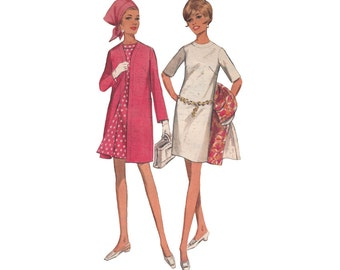 Slim Dress with A Line Coat Bust 33 Butterick 4743 Elbow Length Sleeves Oval Neckline Vintage 1960s Coat and Dress Set Sewing Pattern