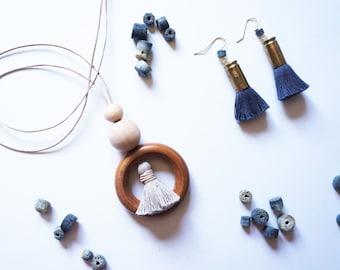 Statement Necklace   Tassel   Wood   Leather   Minimalist