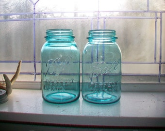 Pair Ball Perfect Mason Blue Quart Jars Canning Jars