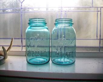 Pair Ball Perfect Mason Blue Quart Jars Canning Jars Circa 1923 to 1933