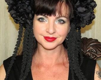 Noir LOVE LIES a BLEEDING  Black Fantasy Headdress Hair Adornment ooak