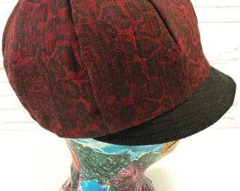 Cranberry Red Newsboy Hat with snake-pattern