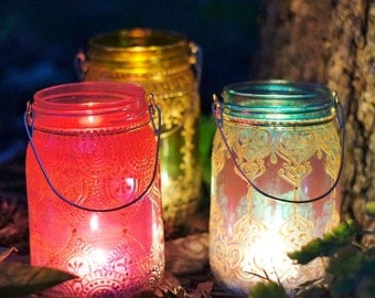 Moroccan Inspired Lanterns- Boho Hanging Mason Jar Candle Holders with Hand Painted Ombre Glass and Mehndi Gold Designs- Gift Set of Three