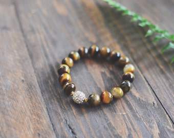 Tiger Eye Gemstone Bracelet // Stretch Bracelet // Crystal Pave Bead // Neutral Gemstone Bracelet // Bracelet Stack