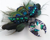 Stag beetle ornament, faux taxidermy, feather work beetle, wearable art, unique and unusual hair grip, corsage, brooch, home decoration