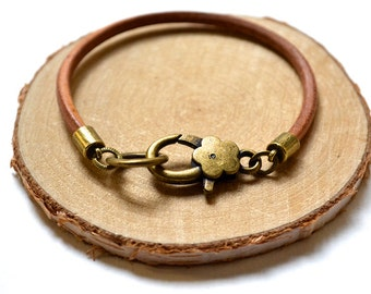 Leather Bracelet - Large Bronze Clasp - Flower Clasp - Handmade