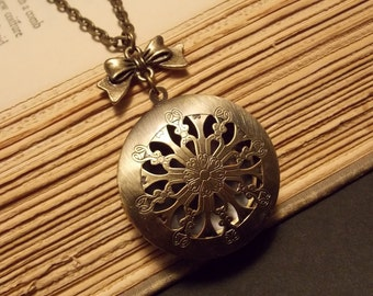 Bronze Filigree Locket Necklace