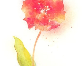 Fine art watercolor painting, flower art, TULIP WATERCOLOR PRINT, giclee print, flower interest