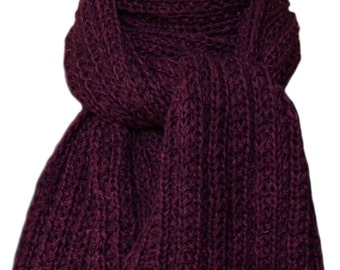 Hand Knit  Scarf - Purple Fruits Wool Trail Ridge Rib