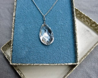 40s Sterling Silver and Crystal Teardrop Necklace in Original Box