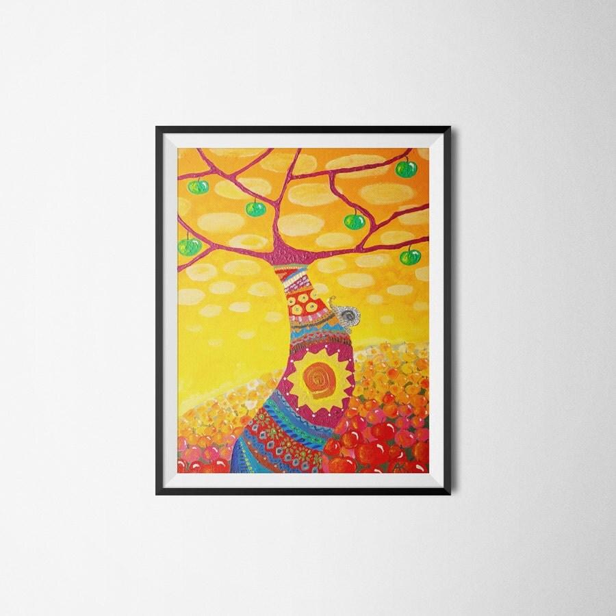 Wall Decorations Orange : Yellow wall art orange print home decor