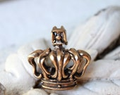 40% OFF SALE - Use Coupon Code - MAY40 - Bronze French Crown Pendant / Hand Cast