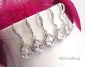 teardrop bridesmaid earring set of 4, crystal wedding earrings, CZ earrings, bridesmaid gifts crystal bridesmaid earrings bridesmaid jewelry