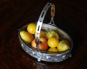 French Art Nouveau Silver Plate Fruit Bowl - Centerpiece Bowl with Glass Insert - Moveable Handle - Excellent Condition - 1920s