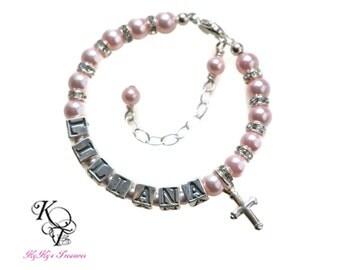 Cross Charm Bracelets Baby Bracelets Baptism Bracelet Sterling Silver Baby Bracelet Personalized Baby Bracelet Christening Bracelet