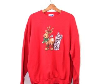 Vintage Cat Christmas Sweatshirt Christmas Sweatshirt Christmas Cat Sweater Reindeer Sweatshirt Ugly Christmas Sweater Size XL