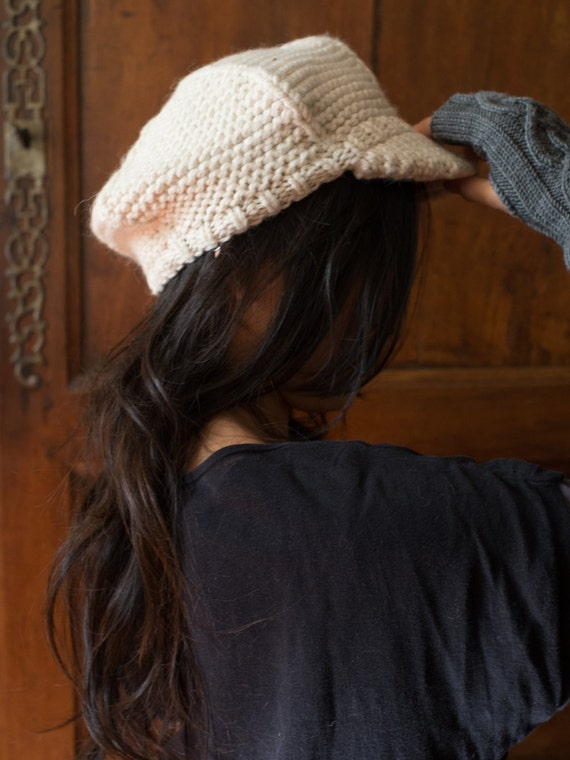 OLIVIA  - Woman Cap - Undyed Merino, Alpaca & Silk luxury blend - Off White - Ready to ship