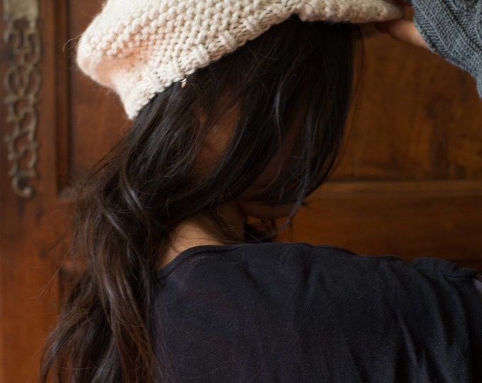 OLIVIA  - Woman Cap - Undyed Merino, Alpaca & Silk luxury blend - Off White - Ready to ship - Free shipping