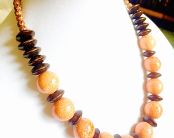 Orange necklace - Peach beaded necklace - Orange Statement jewelry - Porcelain bead necklace - large bead jewelry - orange ceramic necklace