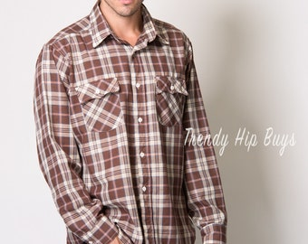 Vintage Levi's shirt, Men's Plaid Shirt, Men's vintage shirt, Men's 70s Shirt, Western shirt, Brown Plaid shirt, Men's shirt - XL
