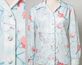 60s top, Vintage blue top, Light blue top, Vintage Floral top, Mad Men top, Vintage top, Vintage blouse - XL/1XL
