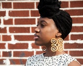 Dwennimmen // Adinkra // Afrocentric // Natural Wood Hand Stained Earrings // African and Caribbean Inspired Jewelry
