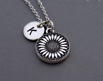 Sunflower necklace, Silver sunflower charm, Sunflower jewelry, Silver initial necklace, initial hand stamped, personalized, monogram