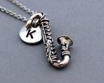 Saxophone necklace, Saxophone charm, instrument necklace, initial necklace, initial hand stamped, personalized, antique silver, monogram