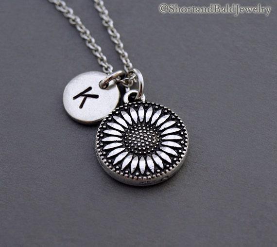 Sunflower Necklace Silver Sunflower Charm Sunflower Jewelry