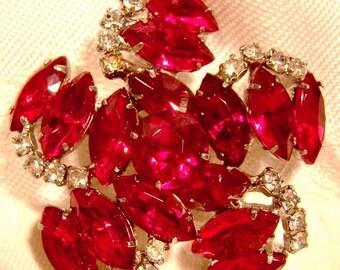Retro Red and White Rhinestone Pinwheel Pin or Brooch 1950s