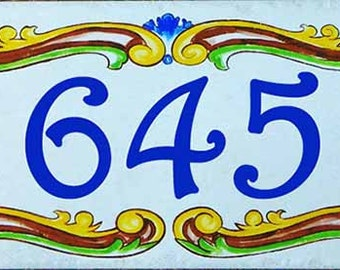 Porcelain hand painted house numbers. Resort sign, Welcome sign, Door address numbers, Ceramic house numbers, decorative unique tile.
