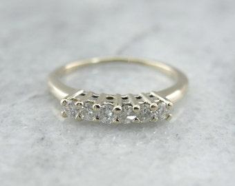 Classic Six Diamond Wedding Band in White Gold UV9239-N