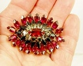 Schreiner Red & Black Brooch, Vintage Crystal Glass Rhinestone, Marquise, Square Cut, Hook and Eye, Prong Set