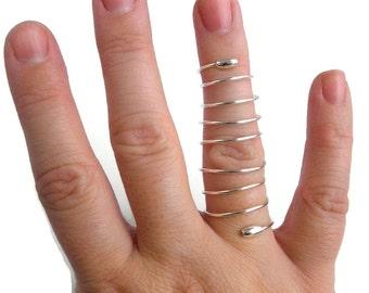 Sterling Silver Full Finger Ring, Sterling Silver Spiral Ring, Silver Full Finger Ring