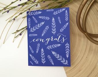 Congrats Card - congratulations card - calligraphy notecard - graduation card - congrats on achievement -promotion card-botanical print card