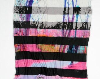 London Calling Knee Length Column Skirt - Bright Multicolored Digital Print with Black Stripes