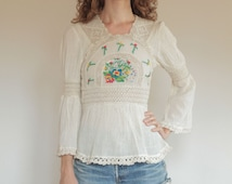 Cross stitch original 70's boho muslin embroidered cotton lace bell sleeve blouse, small size