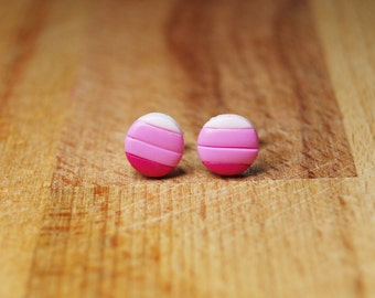 Tiny Studs - Polymer Clay Earrings - Pink Ombre - Simple Earrings - Pink Earrings - Petite Earrings - Small Gift For Women - Gift For Her