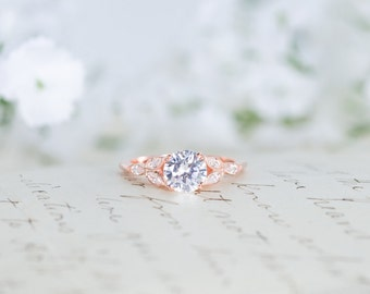 rose gold engagement ring art deco ring vintage wedding ring antique ring - Wedding Rings Rose Gold